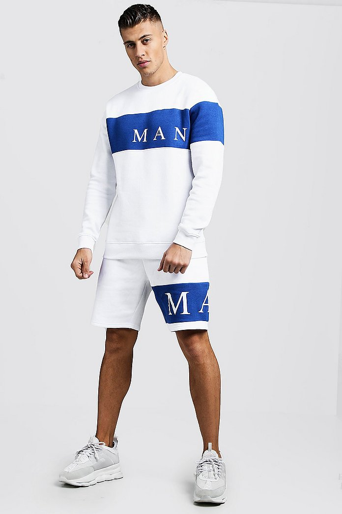 MAN Sport Contrast Panel Sweater Short Tracksuit | boohooMAN UK
