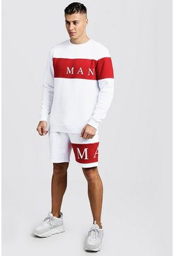 Mens Red MAN Sport Contrast Panel Sweater Short Tracksuit