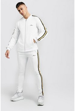 Mens Ecru Tricot Bomber Tracksuit With Side Tape