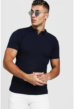 Herr Navy Muscle Fit Cable Knit Polo