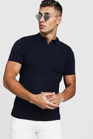 Mens Navy Muscle Fit Cable Knit Polo