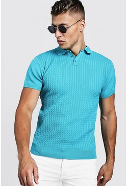 Mens Turquoise Muscle Fit Cable Knit Polo