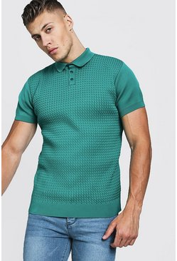Mens Jade Muscle Fit Cable Knit Polo