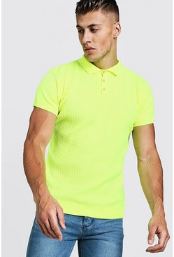 Mens Neon-yellow Muscle Fit Cable Knit Polo