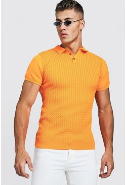 Mens Neon-coral Muscle Fit Cable Knit Polo