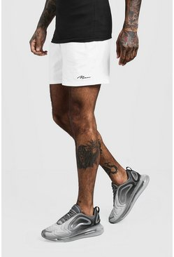MAN Signature Short court en jersey, Blanc, Homme