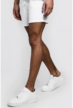 Mens White Jersey Short Length Shorts