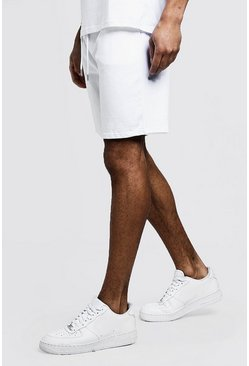 Mens White Jersey Mid Length Shorts