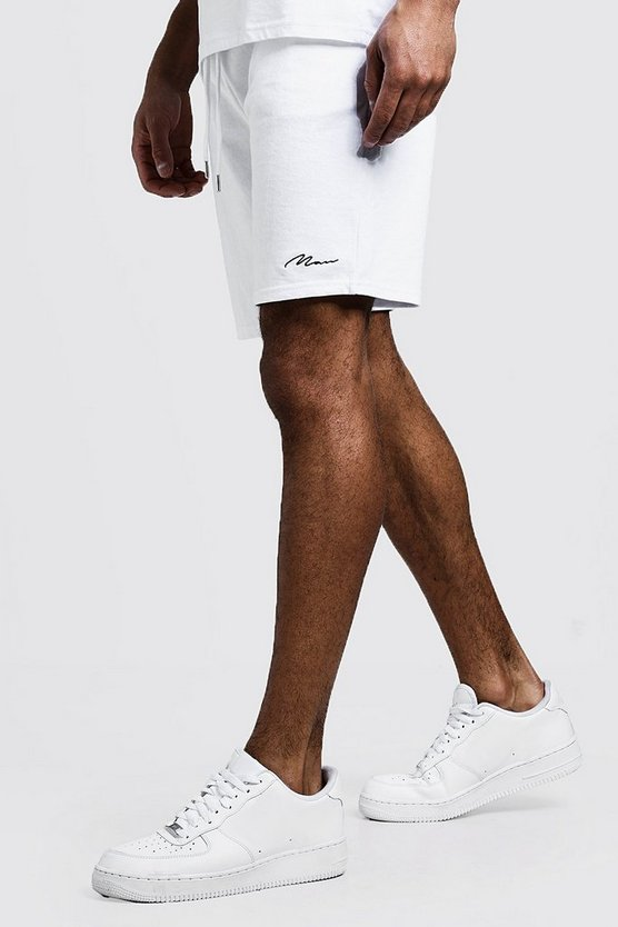 White MAN Signature Mid Length Jersey Short