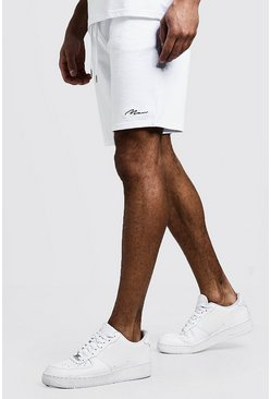 MAN Signature Short mi-long en jersey, Blanc, Homme