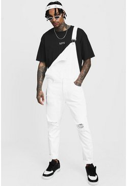 Mens White Slim Fit Distressed Overalls