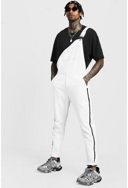 Mens White Slim Fit Denim Dungarees With Tape Detail