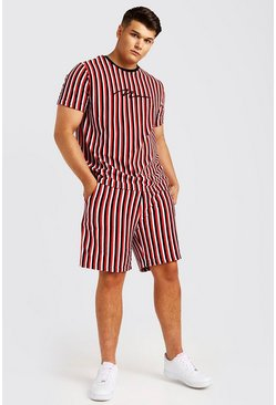 Mens Red Big & Tall MAN Velour Stripe Set