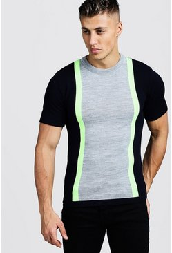 Mens Neon-green Muscle Fit Knitted T-Shirt With Colour Block Detail