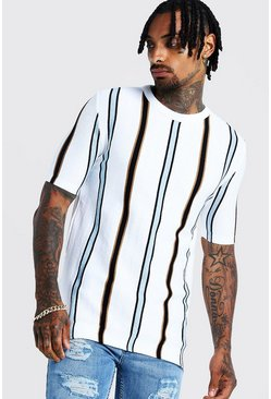 Herr Ivory Knitted T-Shirt With Vertical Stripe