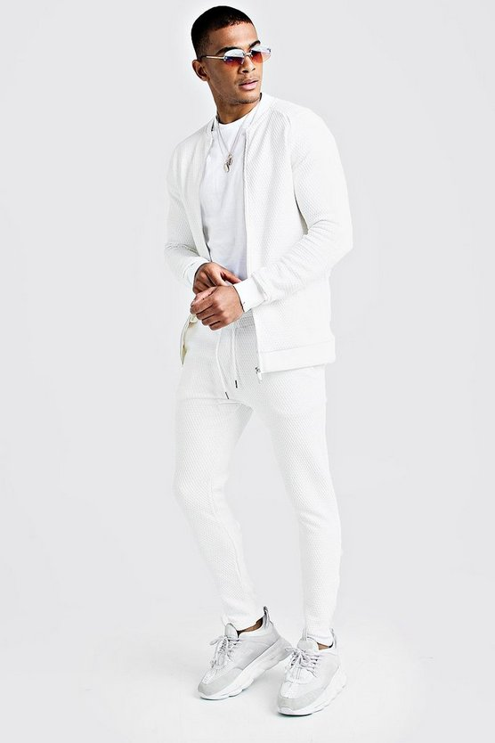 Mens White Quilted Smart Bomber Tracksuit
