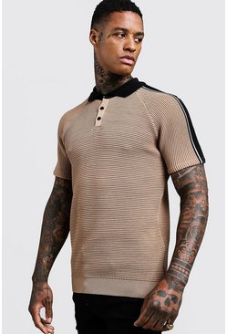 Herr Sand Muscle Fit Knitted Polo With Stripe