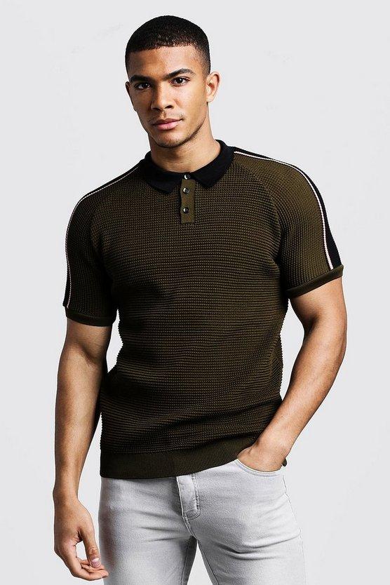 Mens Khaki Raglan Knitted Polo With Tipping