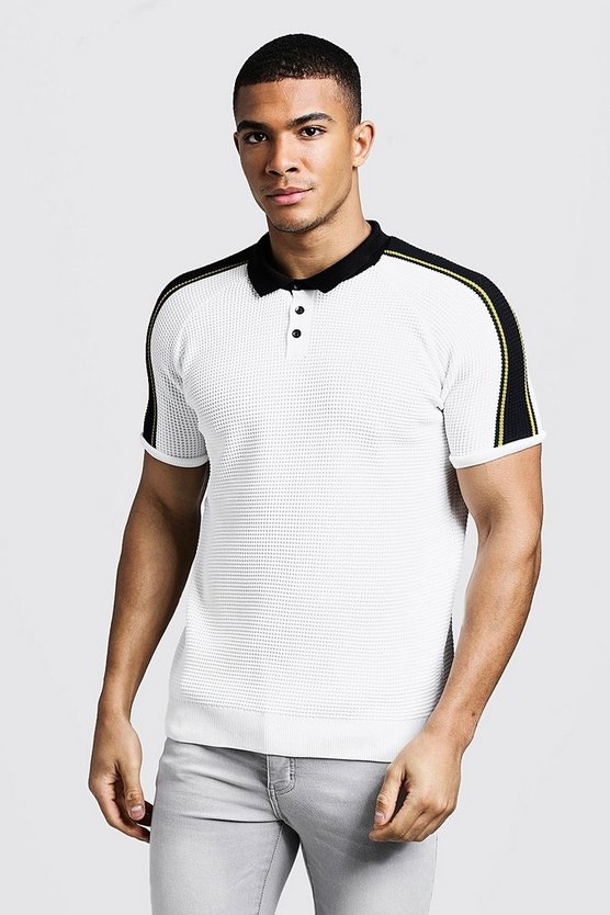 Mens Ivory Raglan Knitted Polo With Tipping