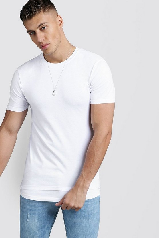 Mens White Muscle Fit Tee With Faux Layer