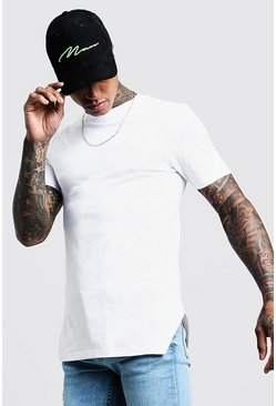 Mens White Muscle Fit T-Shirt With Split Hem