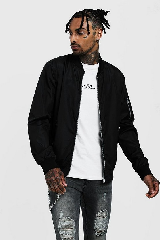 Mens Black Bomber Jacket With Zip Pockets