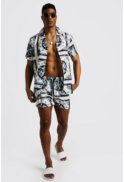Mens White Pastel Baroque Print Shirt & Swim Short Set