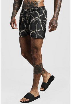 Black Chain Print Swim Short In Short Length