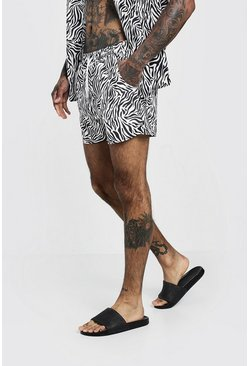 Herr Black Animal Print Swim Short In Mid Length