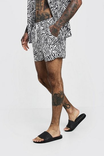 Mens Black Animal Print Swim Short In Mid Length