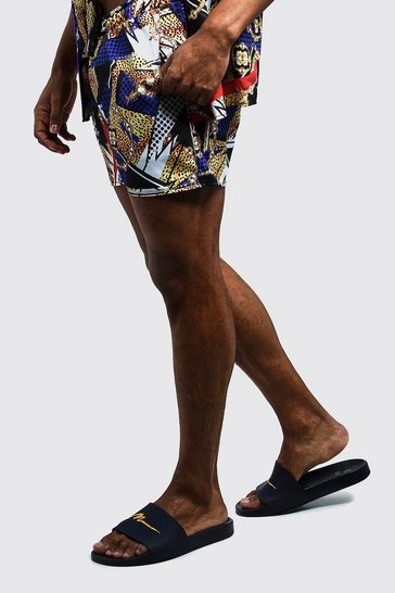 Mens Navy Animal Baroque Swim Short In Short Length