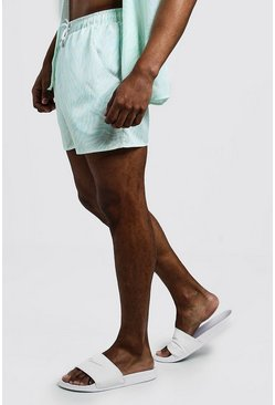 Short de bain mi-long imprimé animal, Menthe, Homme