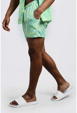 Short de bain court imprimé animal, Jaune néon, Homme