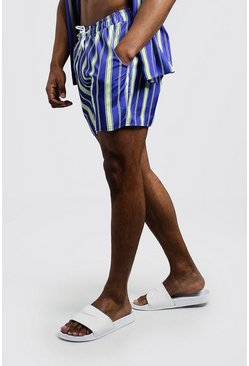 Mens Cobalt Vertical Stripe Swim Short In Mid Length