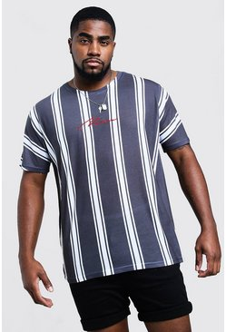 Mens Black Big And Tall MAN Signature Stripe T-Shirt