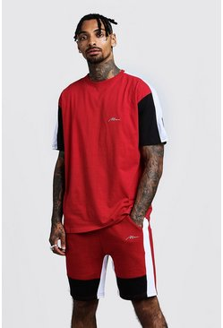 Set aus Loose-Fit Colorblock-T-Shirt und Shorts mit MAN-Logo, Rot, Herren