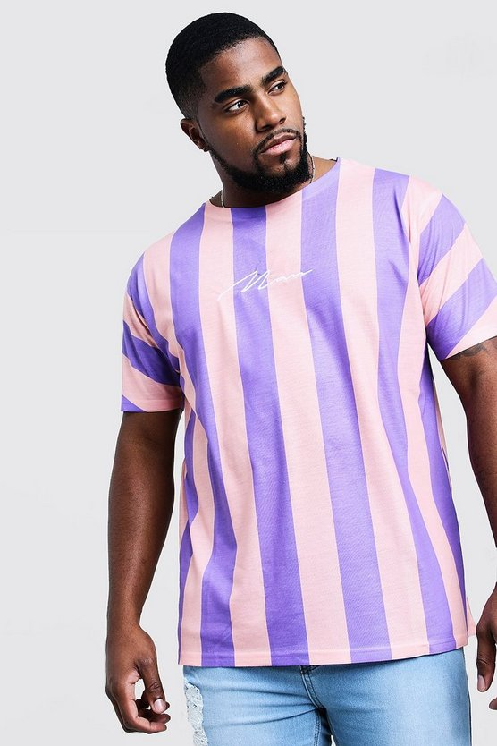 Purple Big And Tall MAN Signature Stripe T-Shirt