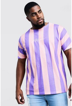 Mens Purple Big And Tall MAN Signature Stripe T-Shirt