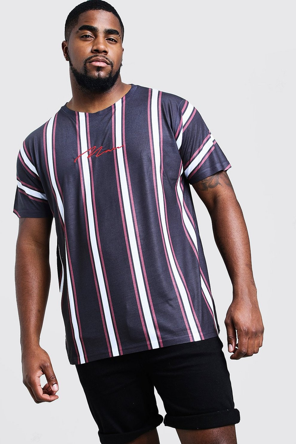 c36e662b Big And Tall Signature Stripe T-Shirt | Boohoo