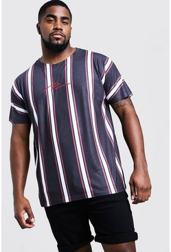 Mens Black Big And Tall Signature Stripe T-Shirt