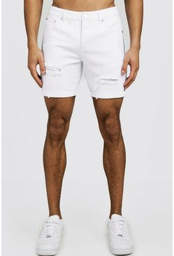 Herr White Slim Fit Distressed Tape Detail Denim Shorts