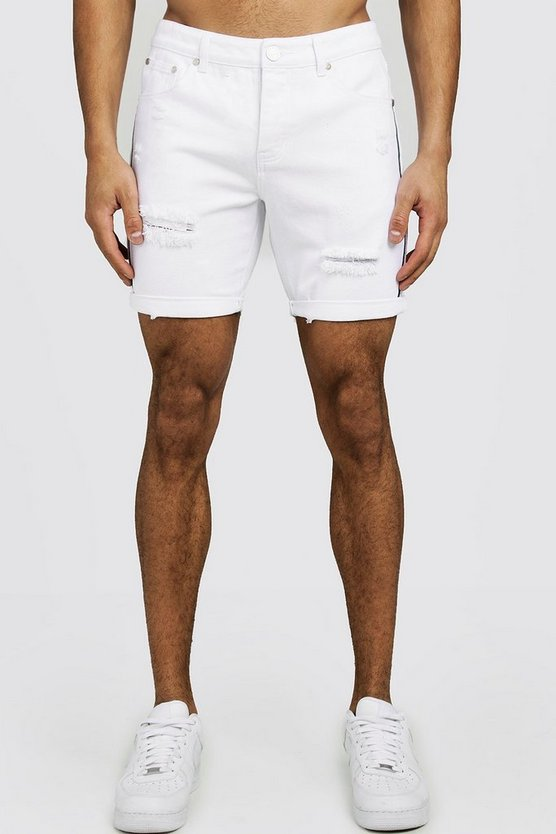 Mens White Slim Fit Distressed Tape Detail Denim Shorts