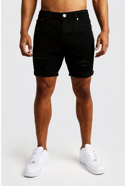 Mens Black Slim Fit Distressed Tape Detail Denim Shorts