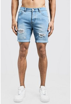Mens Vintage wash Slim Fit Distressed Tape Detail Denim Shorts