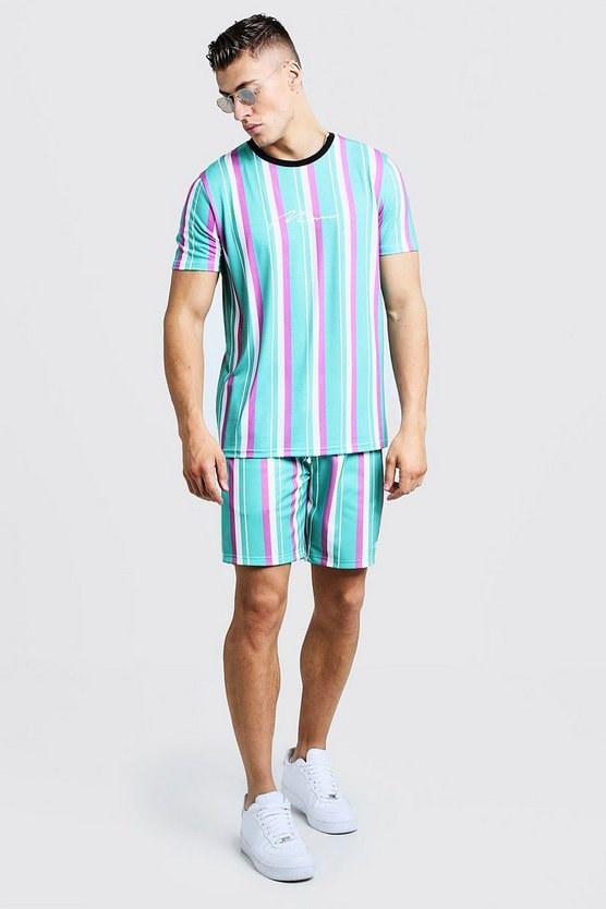 Ensemble Short & T-shirt à rayures MAN Signature, Vert, Homme