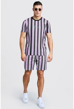 Mens Light pink MAN Signature Stripe T-Shirt & Short Set