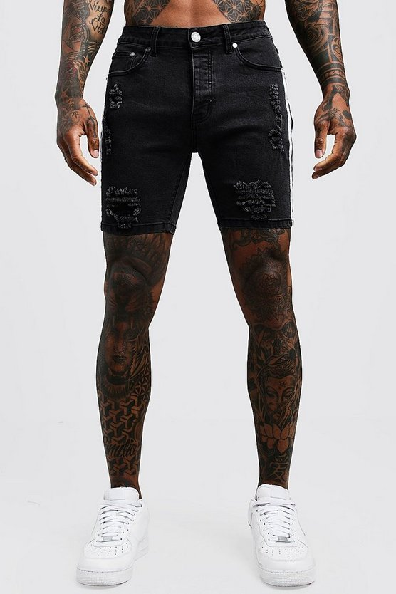 Mens Charcoal Skinny Fit Distressed Shorts With Side Tape