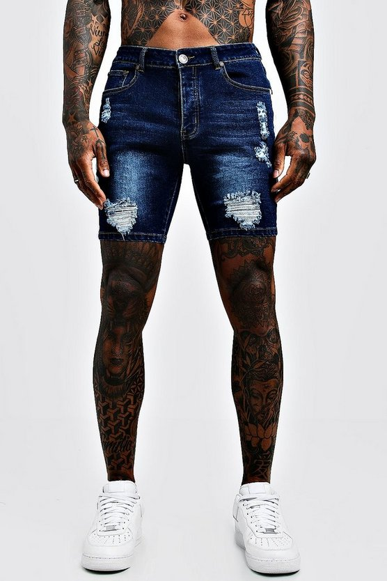Mens Dark blue Skinny Fit Distressed Shorts With Side Tape