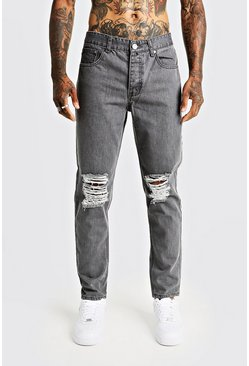 Mens Grey Tapered Fit Denim Jeans With Ripped Knee