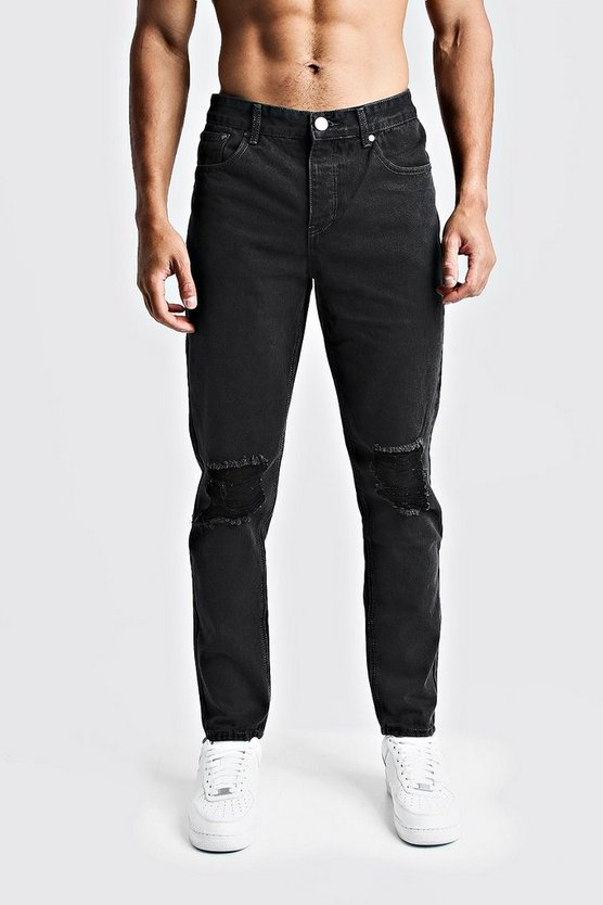 Charcoal Tapered Fit Denim Jeans With Ripped Knee